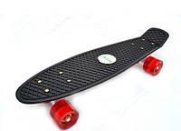 Скейтборд/ скейт Пенни борд (Penny Board) черный со светящимися колесами