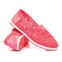 Ажурные женские летние балетки розовые