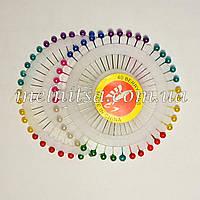 Булавки с цветным шариком, на диске, 40шт