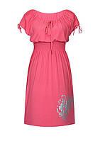 Платье с резинкой на талии летнее Букет - короткий рукав - поливискоза