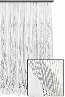 Тюль микросетка с узором Флокс белый