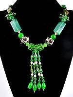Ожерелье агатовое зеленое