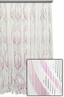 Тюль микросетка с узором Флокс розовый