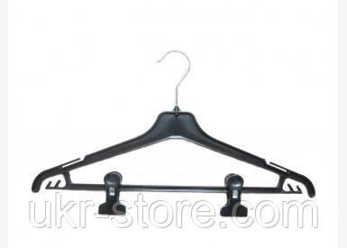 Плечики-вешалка с перекладиной и зажимами - 42 см
