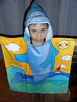 Полотенце-пончо с капюшоном Дельфинчик
