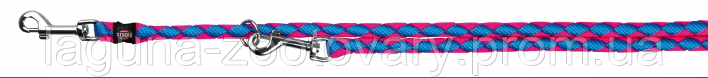 "Круглый поводок-перестежка ""КАВО"" для собак, 2 карабина (нейлон) 2м/12мм, синий/розовый, фото 3"