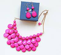 Комплект бижутерии колье и серьги Морской бриз розовый, магазин бижутерии