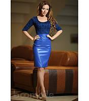 Платье с кожаной юбкой  (шоколад и синий)