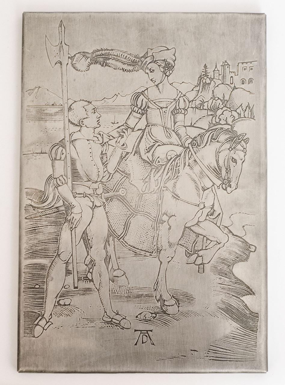 """Панно, картина, гравюра """"Дама и ландскнехт"""", Германия, Альбрехт Дюрер"""