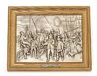 Картина оловянная в дубовой раме, олово,  Германия, Рембрандт, Ночной дозор