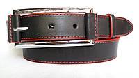 """Кожаный женский ремень 35 мм чорный с красной ниткой красными краями пряжка """"качеля"""""""