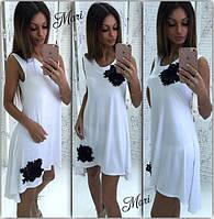 Платье летнее с ассиметричным низом и цветами из ткани разные цвета MIL346