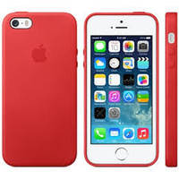 Чехол кожаный с логотипом Apple IРhone 5 - красный (Original)