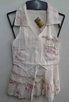 Костюм жилетка + юбка лен