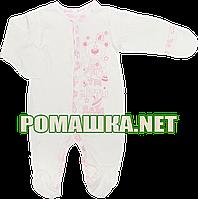 Человечек для новорожденного р. 56 демисезонный ткань ИНТЕРЛОК 100% хлопок ТМ Виктория 3144 Розовый-1