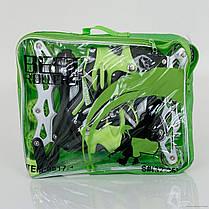Ролики 0817 (466-156XS), разм. 28-31,переставные колеса, цвета в ассорт. Зеленые, фото 3