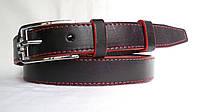Кожаный женский ремень 25 мм чорный с красной ниткой красными краями пряжка серебрянная