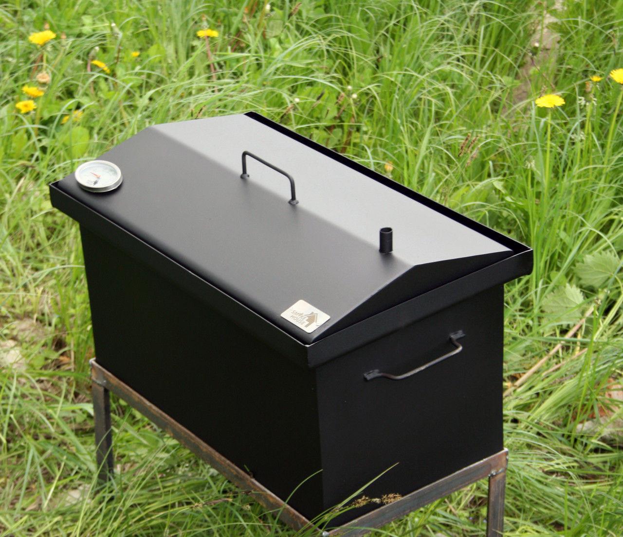 Коптильня для горячего копчения крышка домиком 520х300х280 с термометром окрашенная
