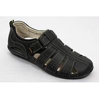 Мужские летние сандалии, кожа MIDA 13709 чёрные.