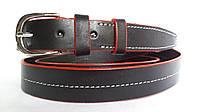 Кожаный женский ремень 25 мм чорный с белой ниткой красными краями пряжка серебрянная овальная