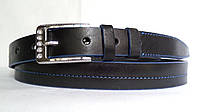 Кожаный женский ремень 25 мм чорный с синей ниткой синими краями пряжка серебрянная со стразами