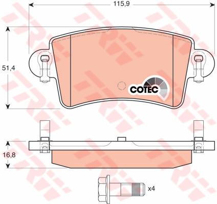Тормозные колодки задние дисковые Movano , Master , Interstar ( TRW GDB1470 )
