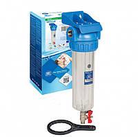 """Магистральный фильтр 1/2"""",3/4"""" механической очистки""""Aquafilter"""" с промывочным краном для хол.воды Slim10"""""""