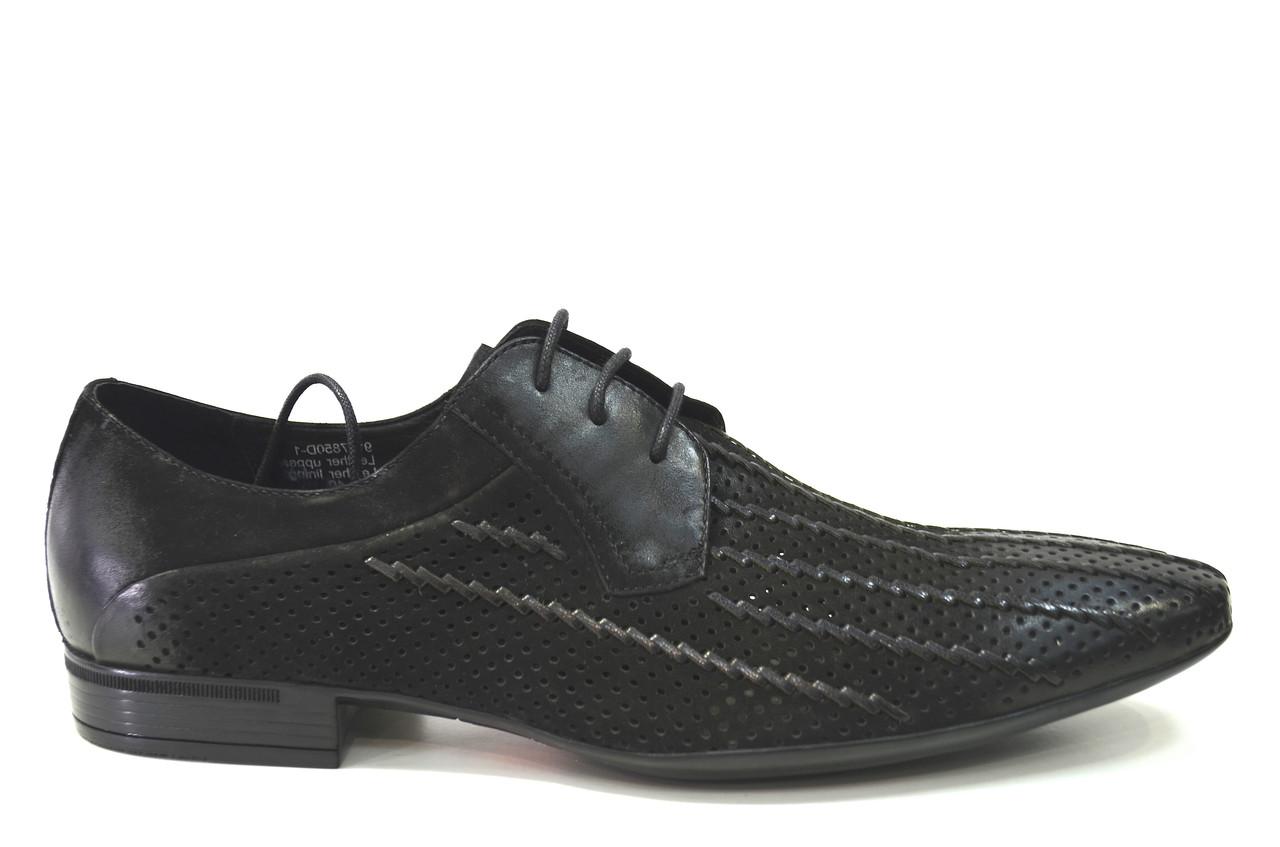 Летние туфли мужские классические из натуральной замши черные