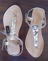 Сереряные кожаные женские сандалии ASOS