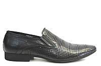 Летние туфли мужские классические из натуральной кожи черные, фото 1
