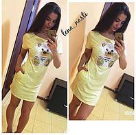 """Платье-туника яркое летнее короткое с карманами """"Мишка"""" пайетки  разные цвета MIL351"""