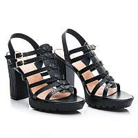 Босоножки черные на широком высоком каблуке,  р 36-40