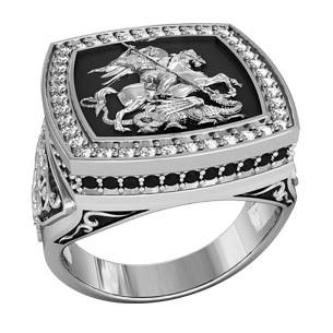 Печатка мужская серебряная Георгий Победоносец с камнями 700190