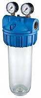 """Магистральный фильтр 1\2"""" механической очистки""""Atlas-Senior M"""" c манометрами, для холодной воды Slim10"""""""
