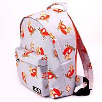 Рюкзак лисички на сером, фото 1