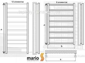 Полотенцесушитель MARIO Токио  1200 x 530/500 водяной (Mario Украина), фото 3