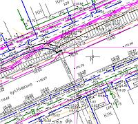 Выполнение топографической съемки с отображение всех форм рельефа, ситуации, коммуникаций