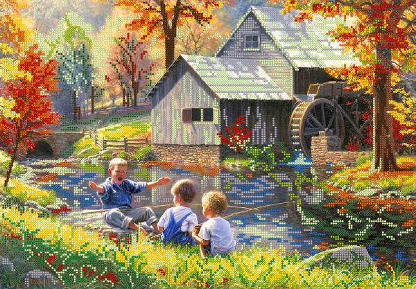 Схема для вишивки бісером POINT ART Діти біля річки, розмір 40х28 см
