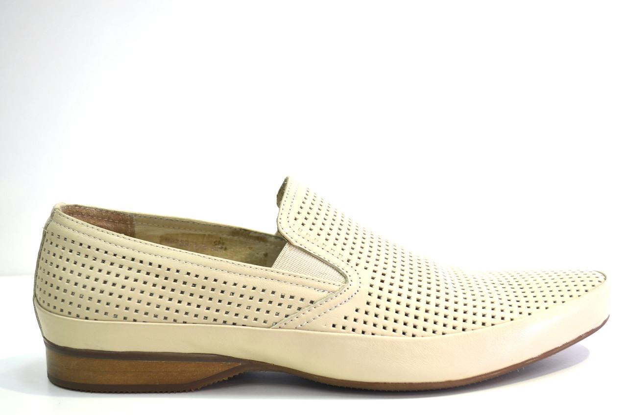 Летние туфли мужские классические из натуральной кожи бежевые