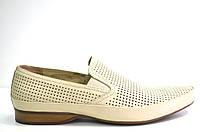 Летние туфли мужские классические из натуральной кожи бежевые, фото 1