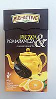 Оздоровительный чай черный листовой Big Aktiv с апельсином и лепестками календулы Польша 80г