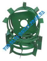 Колесо металлическое с грунтозацепами Ø 380 мм (квадрат 10х10) для мотоблока