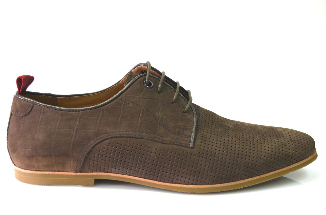 Літні чоловічі повсякденні туфлі з натуральної замші коричневі