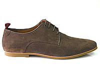 Літні чоловічі повсякденні туфлі з натуральної замші коричневі, фото 1