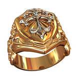 Кольцо мужское серебряное Щит с Готическим Крестом и Мечами  700350, фото 6