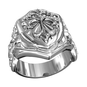Кольцо мужское серебряное Щит с Готическим Крестом и Мечами  700350