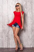 Красная блуза из креп-шифона