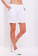 Удлиненные женские шорты на лето с подворотом белого цвета
