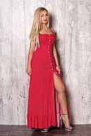 Красный летний сарафан с рюшами