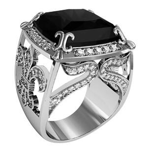 Печатка мужская серебряная Черная Лилия 700220